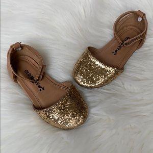 Old Navy gold sparkle tan sandals